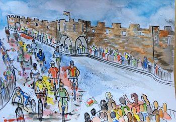 Iron Man Bike Ride Wales Painting