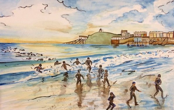 Iron Ma Wales Swim Painting