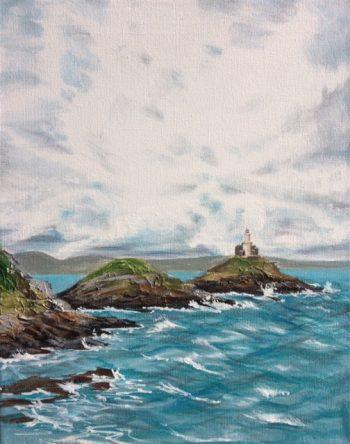 Painting of Bracelet Bay in Swansea