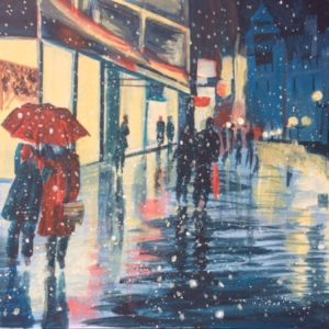 Painting of Cardiff Highstreet During Winter