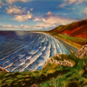 Painting of Rhossilli Bay, The Gower, Swansea