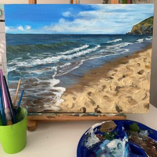 """Penbryn beach, Cardigan Bay"" 12 x 16 Acrylic on Canvas This painting developed from a photo I took back in 2018 in cardigan. We didn't go abroad that year as we were saving for a house along with expecting a new baby. We decided to travel up west wales and we absolutely loved it. It was so nice to be able to explore beaches we'd never been too! We used our @nationaltrust card and found so many cool places. This happened to be the beach we walked down a long road to and just as we got there our then four year old said he needed the loo. Unfortunately it wasn't a ""nip in the sea one!"" My husband was so frustrated and had to walk all the way back up the lane to the toilets! I was happy to be pregnant that the responsibility to do the long walk back didn't fall on me! 🤣🤣🤣🤣 . . . . . #painting #cardigan #penbrynbeach #penbryn #wales #artwork #onetooneclasses #lockdownpainting #seascape #sea #life #texture #textureinart #cardiganbay #westwales #westwalescoast"