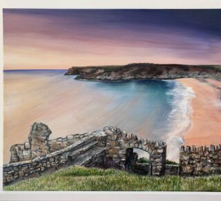 "Barafundle bay 20"" x 22"" Acrylic on canvas Original Not for sale Prints will be available Had the pleasure of going there this week! A magical place! Feels like you are in Greece when you go to this beach as the water is soo clear. I decided to do a purple toned painting instead of the typical colours you'd see of Barafundle pretty pleased with end result now to the framers. #barafundle #barafundlebay #barafundlebeach #barafundlepainting #wales #bestbeaches #beautifulbeach #walescoast #pembrokeshire"